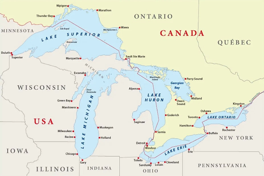 Map of the 5 Great Lakes